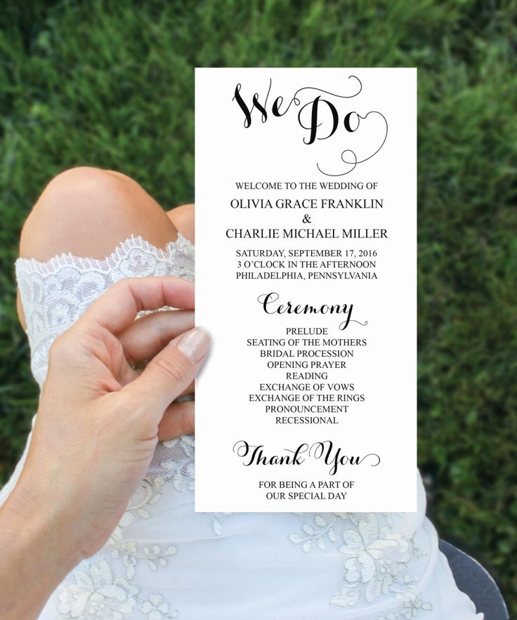 Wedding programs 4x8 wedding program template editable for 4x8 wedding invitations