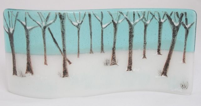 Fused Glass Curve - Winter Woodland £35.00