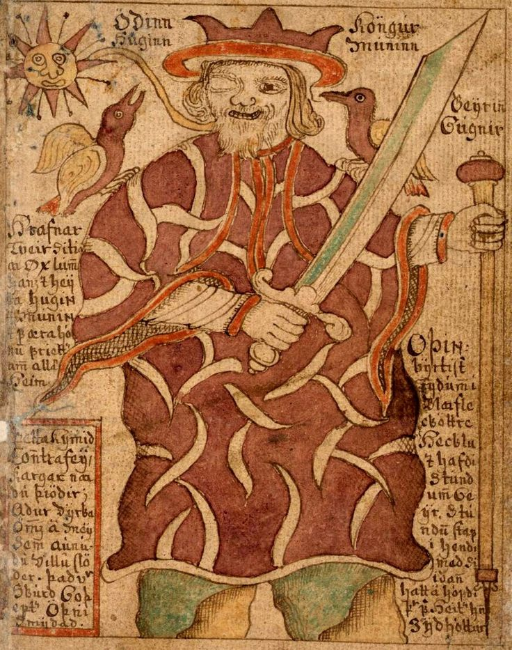 Odin in an Icelandic illuminated manuscript (18th century)