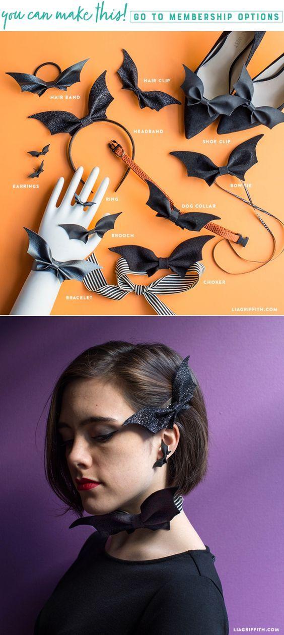11 Ways to Wear a DIY Bat Bow - Lia Griffith - www.liagriffith.com #diyinspiration #diyhalloween #diycostume #diyhalloweencostume #feltcraft #feltcute #paperart #papercut #diyjewelry #madewithlia