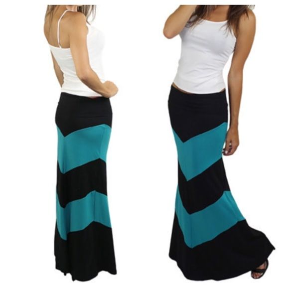 Chevron teal maxi skirt Chic chevron Teal and black fold waist maxi skirt PLEASE comment on the size you want ( when your ready to purchase) and allow me to make you a personalized listing BUNDLE And SAVE 10% please don't use the bundle option doesn't guarantee sizes available Skirts Maxi