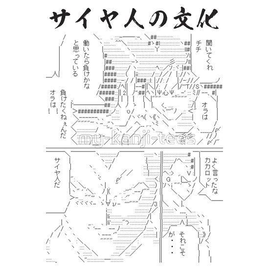 "Dragon Ball parody by ASCII ART.  Here's how the dialogue in Japanese hiragana, katakana, and kanji goes.  Gokuu: ""Kiitekure, Chichi. Ora wa hataraitara make kana to omotteiru. Maketakuneenda, ora wa!!"" Vegeta: ""Yoku itta, Kakarrot. Sorekoso ga…Saiya jin da.""  Meaning,  Gokuu: ""Listen to me, Chichi. I think me working means that I accept a defeat. I don't want to lose to anyone, never!!"" Vegeta: ""Well said, Kakarrot. That is truly a…Saiyan."""