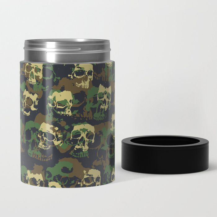 Skull Camo WOODLAND Can Cooler skull, skulls, goth, gothic, pattern, camo, camouflage, army, military, jungle, hunter, hunting, combat, commando, hall…