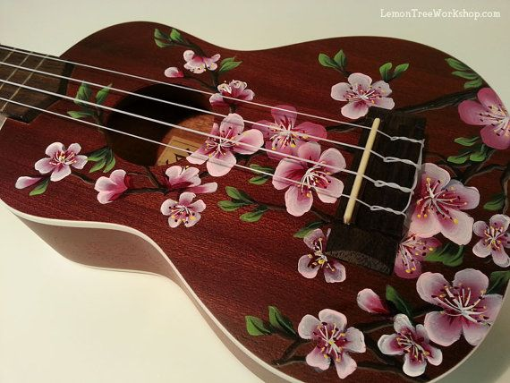 YOUR Ukulele Handpainted with Cherry Blossoms by LemonTreeWorkshop