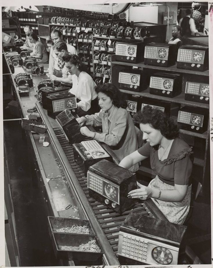 First radios off the assembly line since war's end... general view of assembly line at Emerson Radio & Phonograph Corp, New York