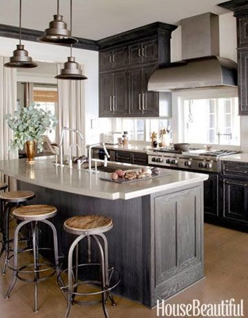 Painted cabinets kitchens pinterest stains grey and for Can i stain my kitchen cabinets darker