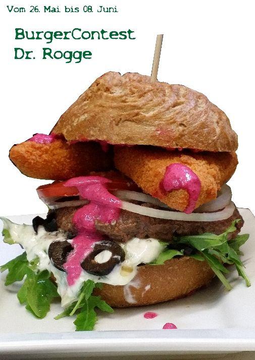Vom 26. Mai bis 08. Juni. Dr. Rogge steht ab Montag auf der Gästeliste.  100 g Biobeef, Eingelegter und panierter Feta, Rote Beete Creme, schwarze Oliven, Ruccola und Tzatziki