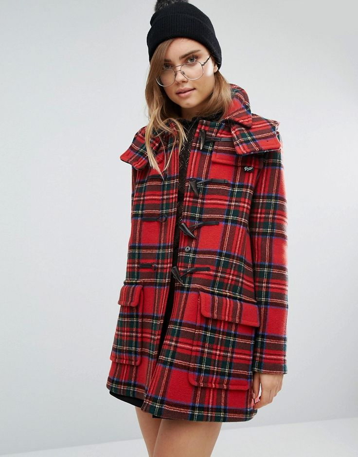 Image 1 of Gloverall Check Duffle in Royal Stewart Plaid