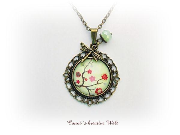 *Kirschblüte&Libelle*Kette bronze 25mm Glas Hanami von *Conni`s kreative Welt* auf DaWanda.com