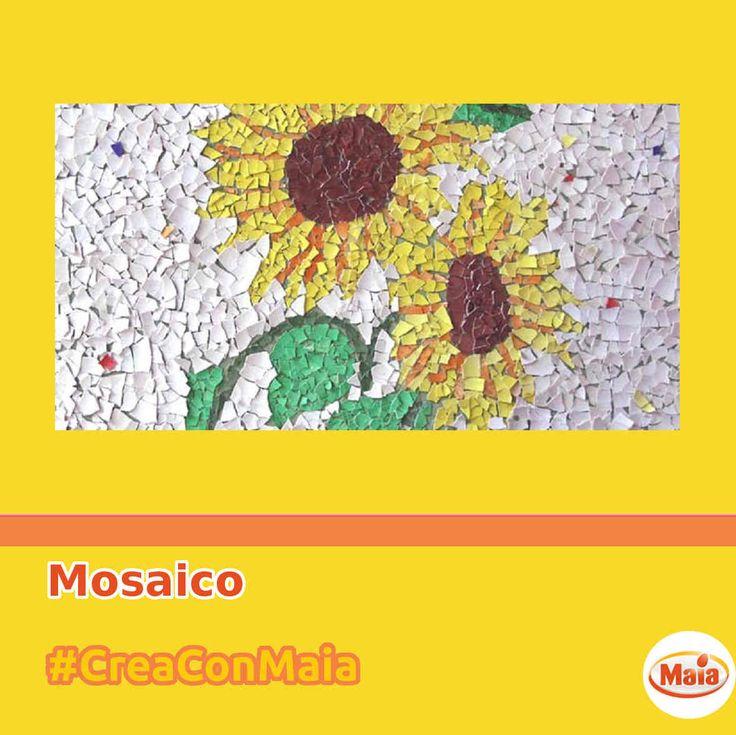 #CreaConMaia Per gli amanti dell'arte, ecco un mosaico con i gusci delle uova.