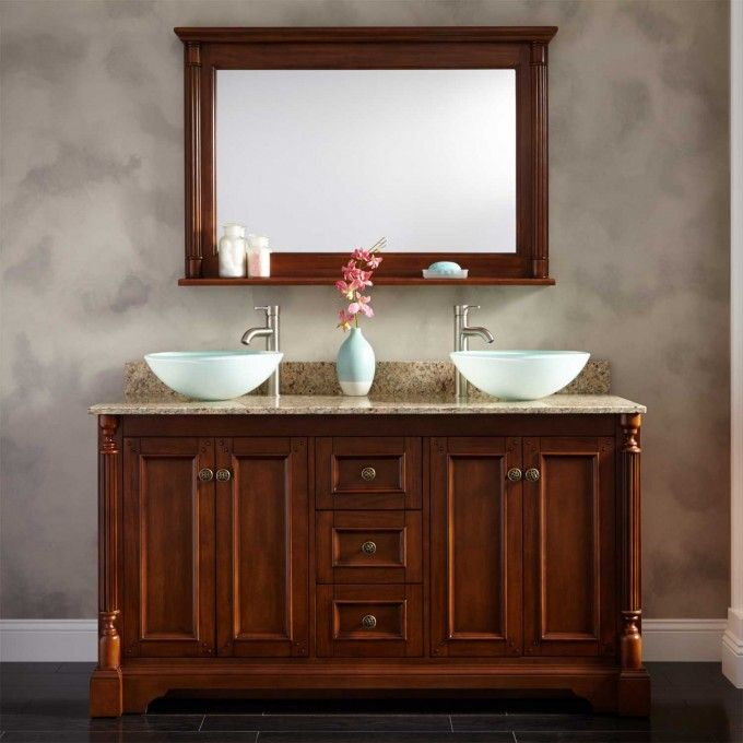 "60"" Trevett Double Vessel Sink Vanity Walnut Bathroom"