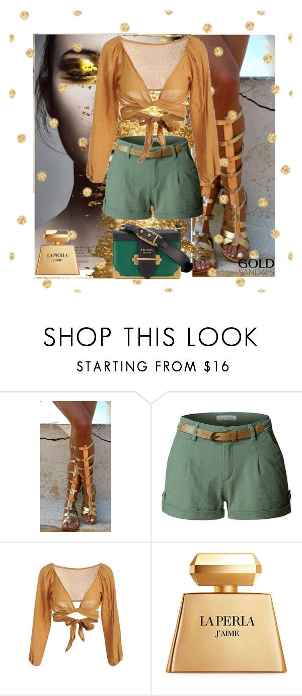 """""""Zafulgold"""" by dahliadesign ❤ liked on Polyvore featuring Ancient Greek Sandals, LE3NO, La Perla and Prada"""