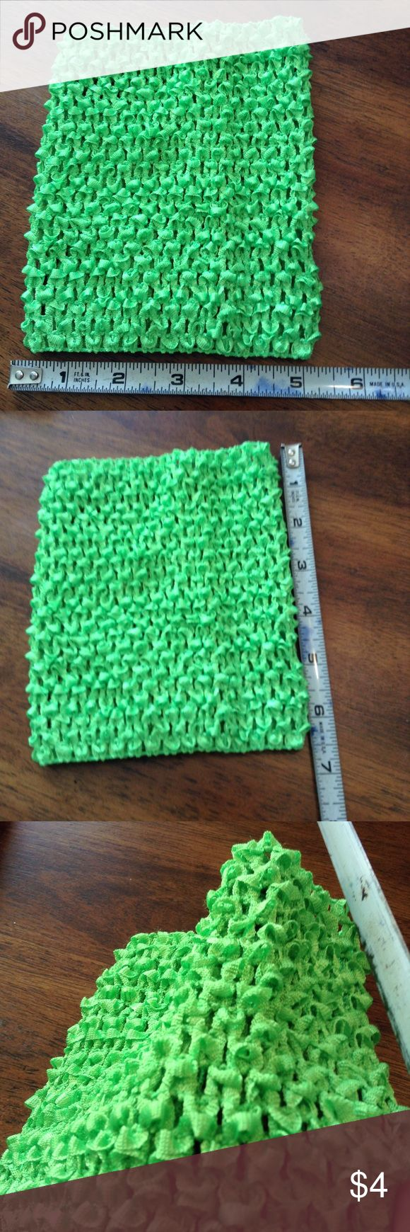 """Lime green crochet tube top Look at photo for """"size""""  Measurements shown Stretchy material Lime green color by be slightly different due to screen.  NWOT Lowest price UNLESS item is bundled Shirts & Tops"""
