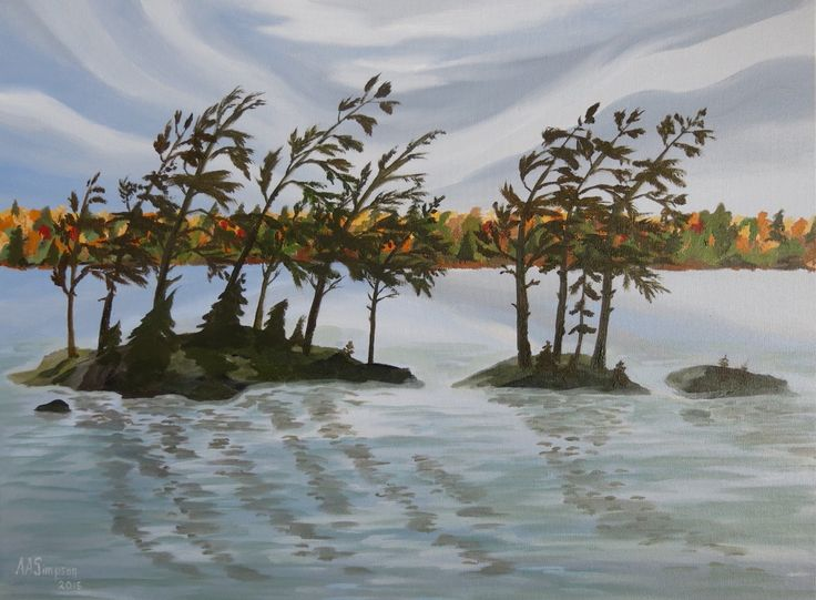 "Breath of Autumn, drawn from the Three Sisters in Muskoka's Lake Joseph.  It measures 18"" x 24"" and is painted in acrylic."