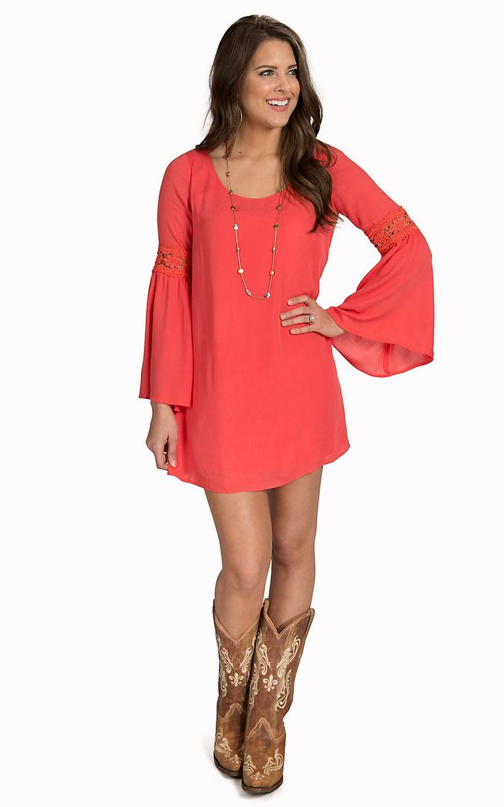 Double Zero Women's Coral Long Bell Sleeves with Crochet Dress | Cavender's