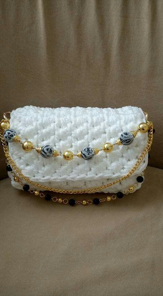 Crochet white bag