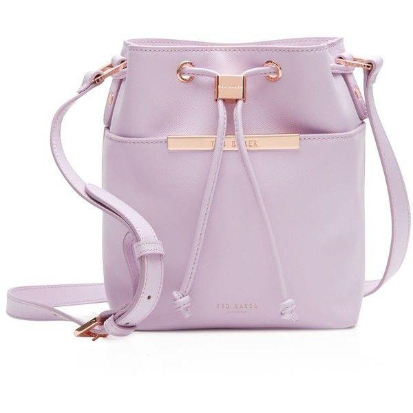 Ted Baker Ersilda Crosshatch Mini Bucket Bag (350 CAD) ❤ liked on Polyvore featuring bags, handbags, shoulder bags, lilac, mini shoulder bag, pink shoulder bag, miniature purse, pink purse and ted baker