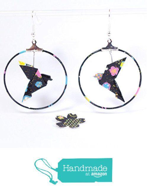 Boucles d'oreilles colombe origami créoles roses et bleu marine en papier japonais traditionnel à partir des LePaslaid https://www.amazon.fr/dp/B01N4HTC1F/ref=hnd_sw_r_pi_dp_rv0Eyb8GA3S50 #handmadeatamazon