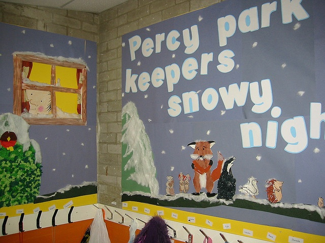 Percy park keeper's snowy night display