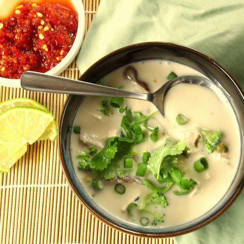 Thai coconut soup with with lemongrass, kaffir lime leaves, Thai ginger, tofu and fresh veggies.