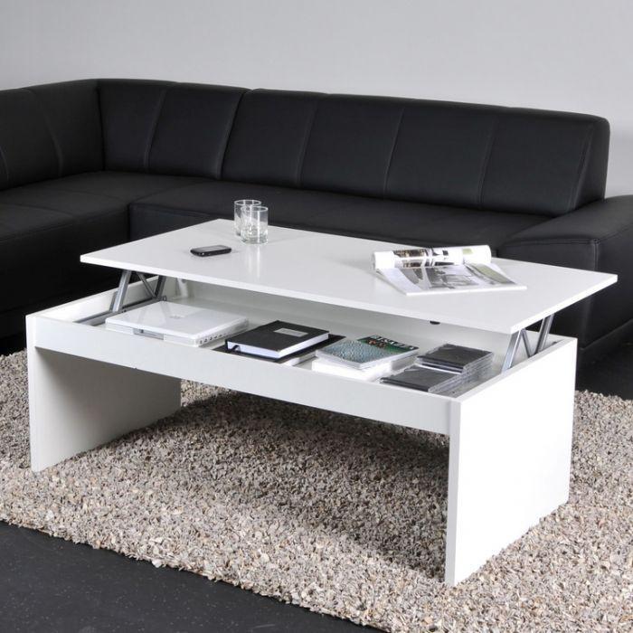 Table Basse Relevable Rectangulaire En Bois Blanc Darwin Table Basse Table Basse Avec Plateau Relevable Table Basse Relevable