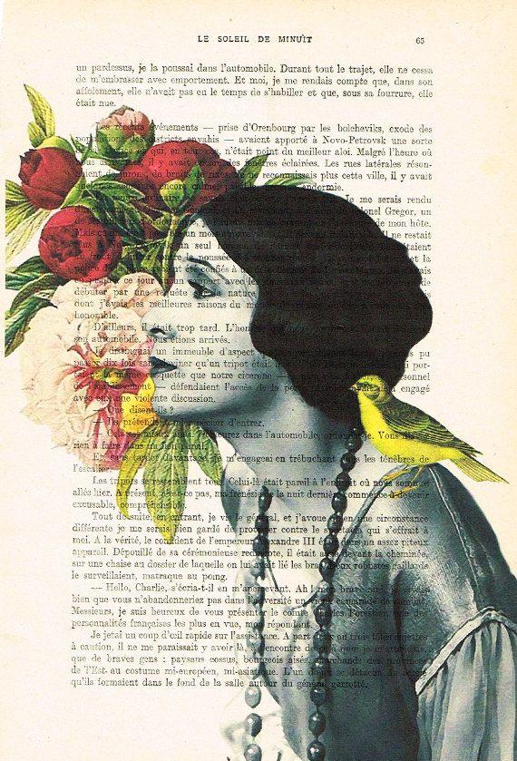 Bloem vrouw 05  Originele Print op antieke pagina van 1900.  De echte antieke papier, die ik gebruik komt uit de jaren 1900 originele antieke Franse boekenpagina.  De pagina is ongeveer 7,5 x 11.4(19 x 29 cm).  Elke creatie is uniek, ontvangt u de vergelijkbare afbeelding maar op een andere pagina van het antieke papier met inbegrip van de tekenen van de schoonheid door de tijd (vlekken, hoek bochten, ongelijke prenten, enz.). Uw art print zal worden verpakt in een doorzichtige plastic folie…