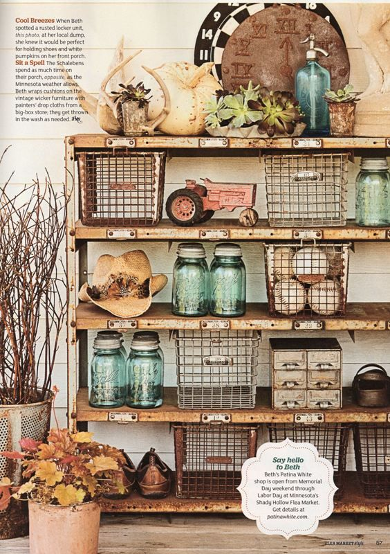 Love the shelves with bookplate labels, the wire baskets, mason jars and vintage toys