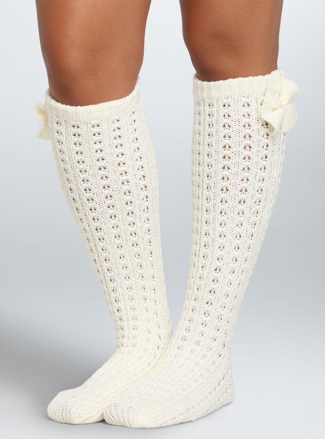 Plus Size Wide Calf Boot Socks - Plus Size Knee-High Bow Socks