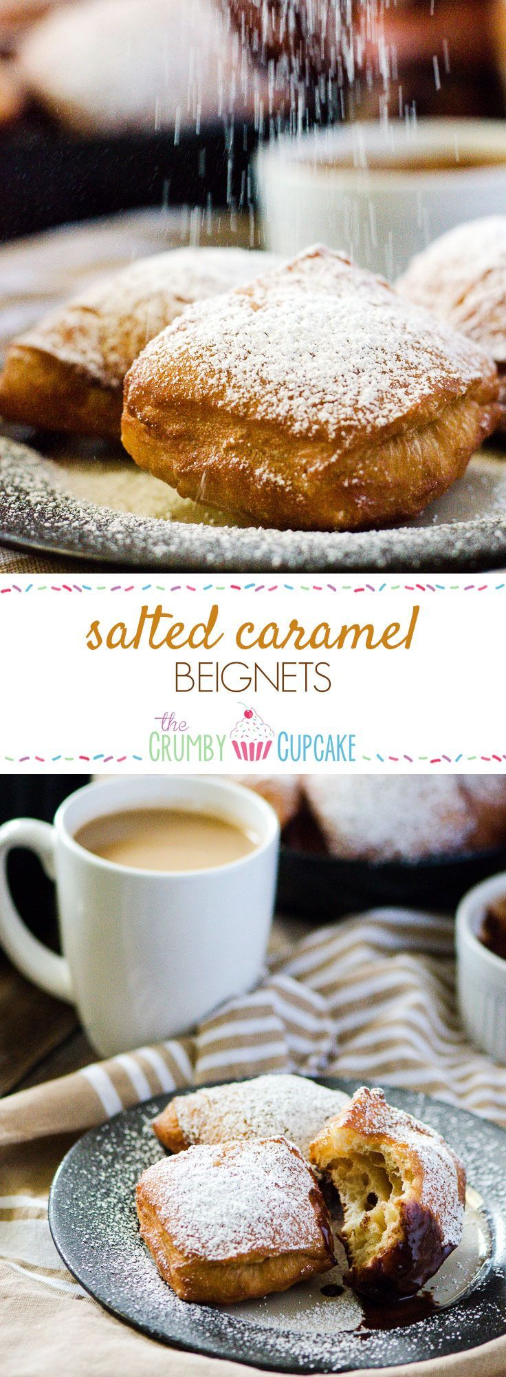 Salted Caramel Beignets | Bring a little New Orleans into your kitchen - salted caramel flavored sweet dough beignets, deep-fried and served hot with a sweet chocolate dipping sauce! #salted #caramel #beignets #donuts #chocolate #dessert #recipe