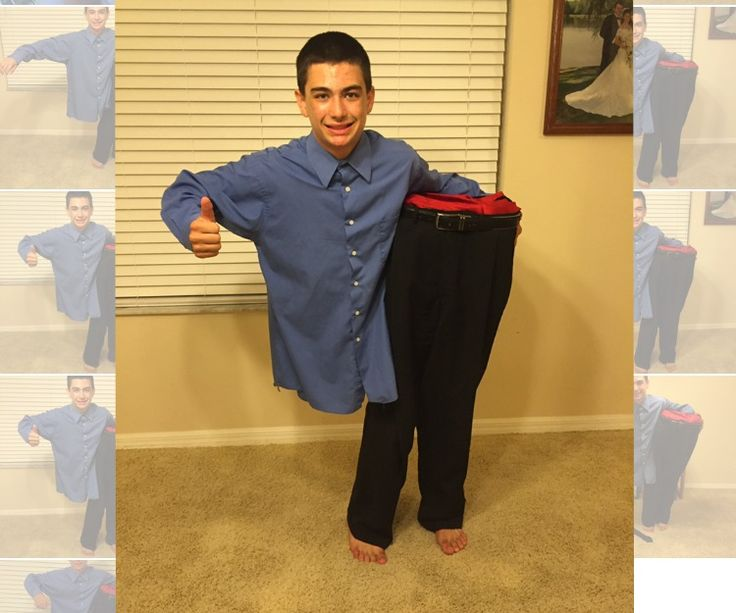 """This costume is a major hit because the boy in the picture is """"beside himself"""" as one man says.Total cost due to finding used clothing to buy was $15 or less."""