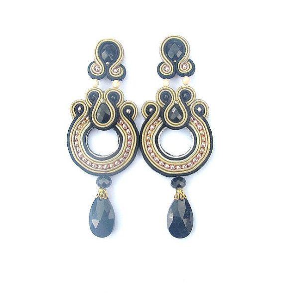 ClipOn Earrings Soutache Earrings Long Nude and by StudioGianna, $59.00