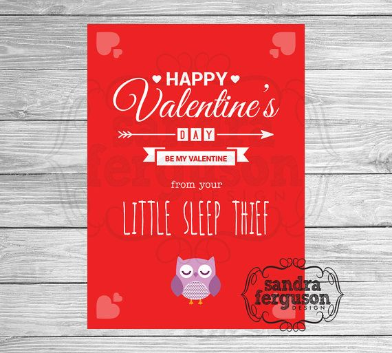 """5x7 Printable """"Happy Valentine's Day from your Little Sleep Thief"""" - Pink 