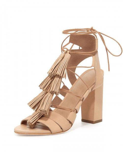 Loeffler+Randall+Luz+Tassel+Lace+Up+Leather+Sandals+Wheat+Women's+38+0b+8+0b+|+Shoes+and+Footwear