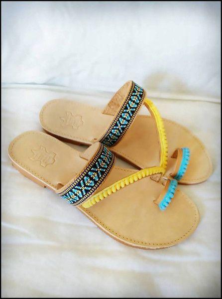 Sandals – pom pom sandals – a unique product by HandmadeItemsStore on DaWanda