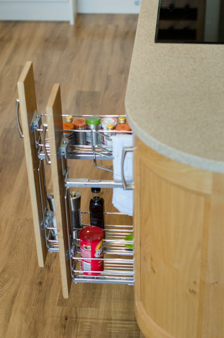 Storage- 150mm pullouts for spices, oils and towels.Kitchens by Newhaven Kitchens Carlow.