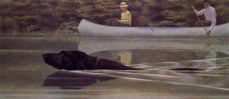 Alex Colville - Swimming Dog and Canoe.