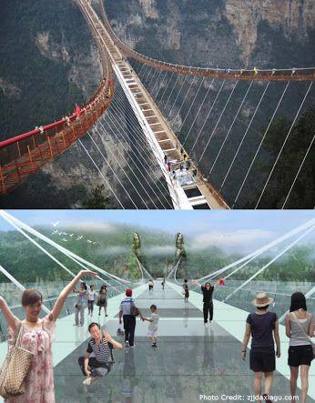 Der Zhangjiajie-Nationalpark in der südchinesischen Provinz Hunan ist wegen seiner rund tausend Sandsteinpfeiler, von denen manche mehr als 200 Meter hoch sind, UNESCO-Weltnaturerbe - und im Juli um eine Attraktion reicher. Dann wird nämlich die höchste und längste Brücke der Welt eröffnet - 385 Meter lang, sechs Meter breit und in einer Höhe von fast 300 Metern. Bis zu 800 Personen können gleichzeitig über die Brücke laufen, sie müssen allerdings schwindelfrei sein, denn große Teile des…