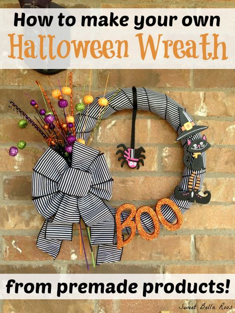 Super easy DIY wreath using premade products #diy #halloween