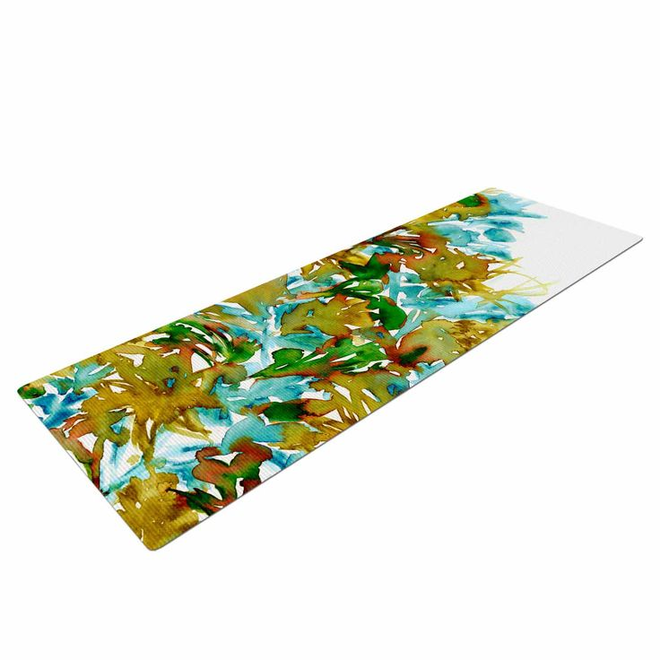 "Ebi Emporium ""Floral Cascade 9"" Yellow Green Yoga Mat"