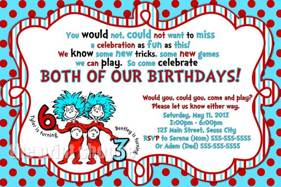 Thing 1 Thing 2 Birthday Invitation  Dr by ThePrintShoppeOnEtsy, $10.00