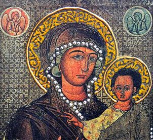 THE VIRGIN HODEGETRIA - antique byzantine art iconography orthodox catholic paint wooden icon religious gift for parents godparents grandparent.  The faithful are turning their prayers to this icon for improvement well-being. $149.00