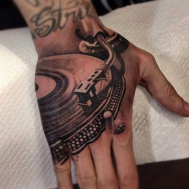 #dj #turntable #blackandgreytattoo