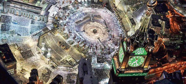 La Mecque, capitale de l'Arabie saoudite vue du ciel, abrite la Kaaba au sein de la Masjid al-Haram (la Mosquée sacrée), considérée comme le lieu le plus sacré de l'islam.