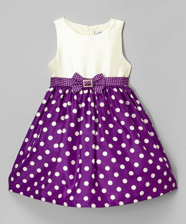 Look at this #zulilyfind! Purple Rhinestone Dot Dress - Infant, Toddler & Girls #zulilyfinds