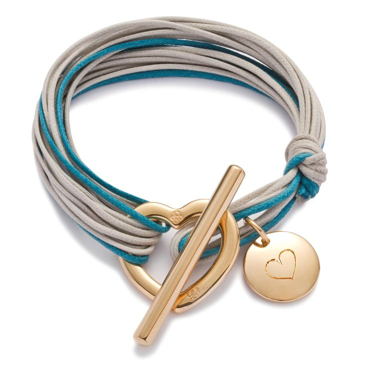 A gift of love!  115$ on http://lilouparis.com/en-us/ready_made_sets#1117   #lilou #heart #bracelet #platedgold #love #string