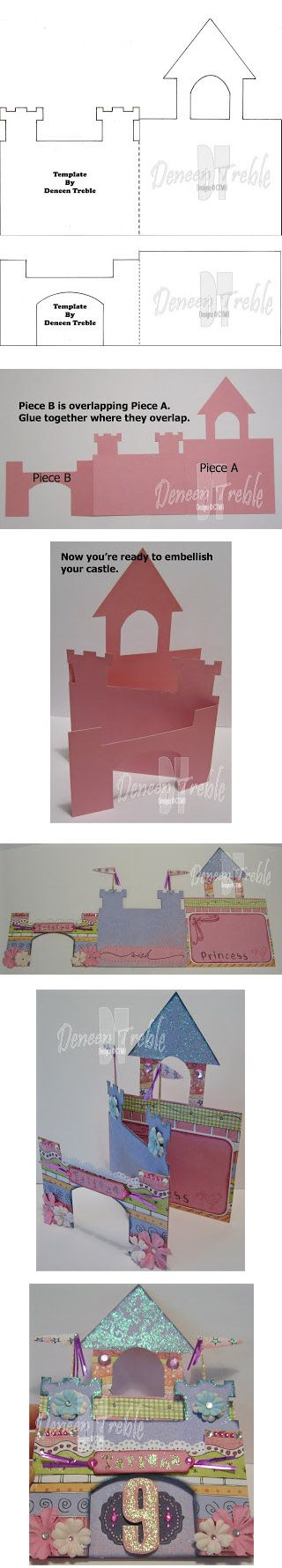 Castle Card, Template. Tarjeta castillo para invitación de cumpleaños con su plantilla