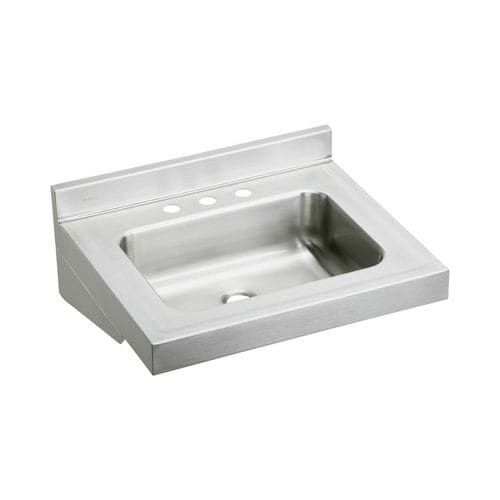 """Elkay ELV22193 Stainless Steel (Silver) 22 Wall Mount Single Bowl Bathroom Sink with Three Faucet Holes, 2-1/2"""" Backsplash and 4"""""""