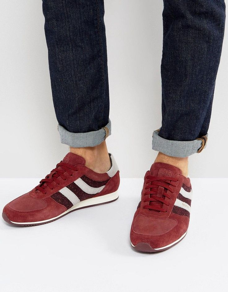 BOSS ORANGE BY HUGO BOSS ORLAND MICRO PATTERN SUEDE SNEAKERS IN RED - RED. #bossorange #shoes #