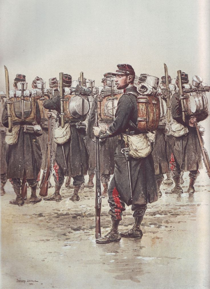 French Army 1900 Sapeurs in marching order by Édouard Detaille