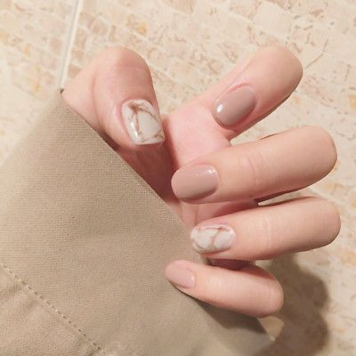 Elegant Press On Fake Nails 24 Pieces Marble Khaki Pre Designed Artificial Nail …